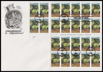 3088 and 3089a / 32c Iowa Statehood Block and Pane of 20 Artcraft 1996 FDC