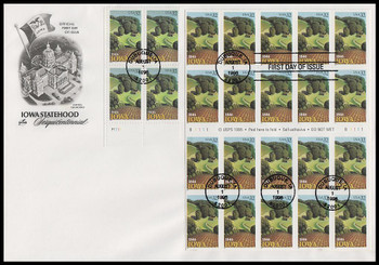 3088 and 3089a / 32c Iowa Statehood Plate Block and Pane of 20 Artcraft 1996 FDC