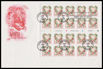 3274a / 33c Victorian Love : Love Stamp Series Booklet Pane of 20 Artcraft 1999 FDC (INK SMUDGE LOWER RIGHT)