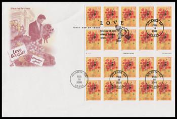 3898 / 37c Love Bouquet PSA Booklet Pane of 20 Artcraft 2005 FDC