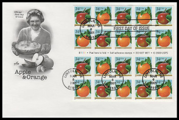 3492b / 34c Apples and Oranges Booklet Pane of 20 Artcraft 2001 FDC