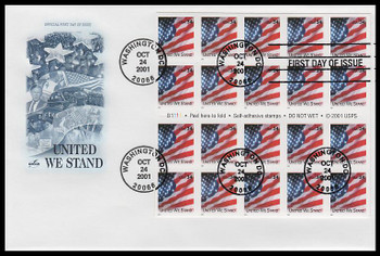 3549a / 34c United We Stand / US Flag Booklet Pane of 20 Artcraft 2001 FDC