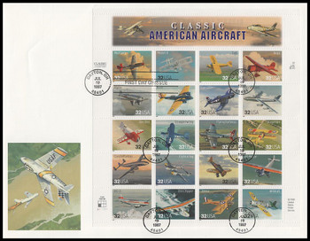 3142 / 32c Classic American Aircraft Sheet of 20 Fleetwood 1997 First Day Cover