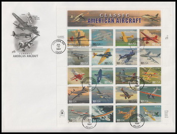 3142 / 32c Classic American Aircraft Sheet of 20 Artcraft 1997 First Day Cover