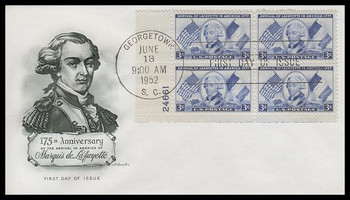 1010 / 3c Lafayette Plate Block 1952 Artmaster First Day Cover