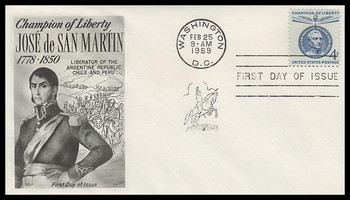 1125 / 4c Jose de San Martin : Champions of Liberty Series Fleetwood 1959 FDC