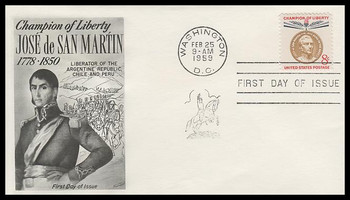 1126 / 8c Jose de San Martin : Champions of Liberty Series Fleetwood 1959 FDC