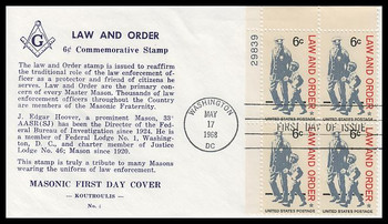 1343 / 6c Law and Order Plate Block Masonic Koutroulis 1968 First Day Cover