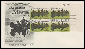 1356 / 6c Father Jacques Marquette Plate Block Fleetwood 1968 First Day Cover