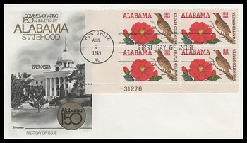 1375 / 6c Alabama Statehood Plate Block Fleetwood 1969 First Day Cover