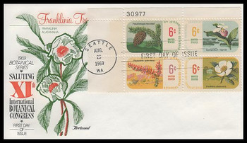 1379a / 6c Botanical Congress Plate Block Fleetwood 1969 First Day Cover