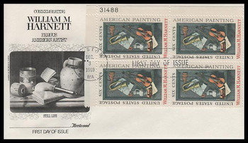 1386 / 6c William M. Harnett : Famous American Artist Plate Block Fleetwood 1969 First Day Cover