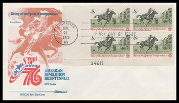 1478 / 8c Colonial Post Rider Plate Block Fleetwood 1973 First DayCover