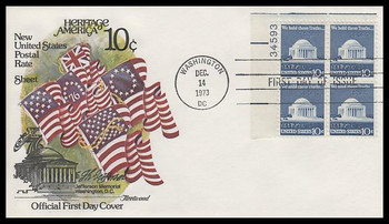 1510 / 10c Jefferson Memorial : Regular Issues Plate Block Fleetwood 1973 First DayCover