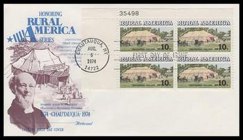 1505 / 10c Chautauqua Tent : Rural America Series Plate Block Fleetwood 1974 FDC
