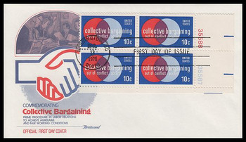 1558 / 10c Collective Bargaining Plate Block Fleetwood 1975 First Day Cover