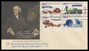1575a / 10c U.S. Postal Service Bicentennial Plate Block Fleetwood 1975 First Day Cover