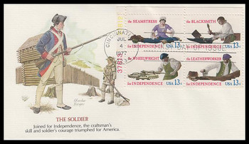 1720a / 13c Skilled Hands : Bicentennial Series  Se-Tenant Plate Block Fleetwood 1977 First Day Cover