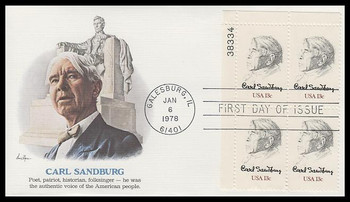1731 / 13c Carl Sandburg  Plate Block Fleetwood 1978 First Day Cover