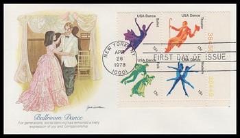 1752a / 13c American Dance Se-Tenant Plate Block Fleetwood 1978 FDC