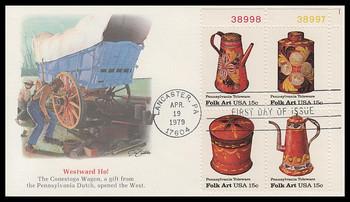 1778a / 15c Toleware American : Folk Art Series Se-Tenant Plate Block Fleetwood 1979 FDC