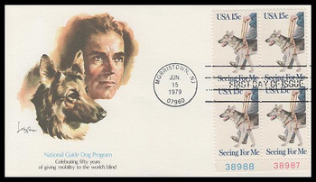 1787 / 15c Seeing Eye Dog Plate Block Fleetwood 1979 First Day Cover