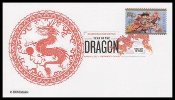 4623 / 45c Year of the Dragon : Chinese Lunar New Year Digital Color Postmark 2012 FDCO Exclusive FDC