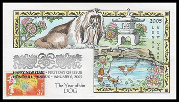 3895k / 37c Year of the Dog : Lunar New Year Collins Hand-Painted 2005 FDC