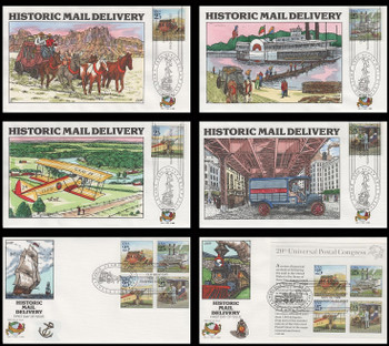 2434 - 2437, 2437a and 2438 / 25c Traditional Mail Delivery : World Stamp Expo '89 Set of 6 Collins Hand Painted 1989 FDCs