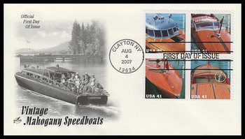 4163a / 41c Vintage Mahogany Speedboats Se-Tenant Block of 4 Artcraft 2007 FDC
