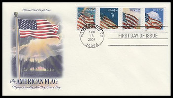 4231a / 42c Flags 24/7 Coil Strip of 4 Artcraft 2008 First Day Cover