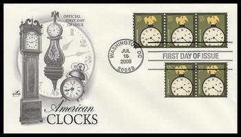 3763 / 10c American Clock Coil Strips Artcraft 2008 FDC