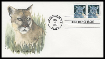 4137 / 26c Florida Panther Pair Edken 2007 First Day Cover
