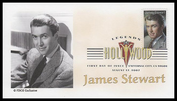 4197 / 41c James ( Jimmy ) Steawart : Legends of Hollywood Digital Color Postmark 2007 FDCO Exclusive FDC