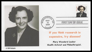 3432B / 78c Mary Lasker : Distinguished Americans Series 2009 FDCO Exclusive FDC