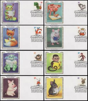 3987 - 3994 / 39c Favorite Children's Book Animals Set of 8 Colorano Silk 2006 FDCs