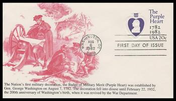 U603 / 20c Purple Heart : Postal Stationery 1982 K.M.C. Venture FDC