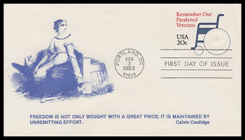 U605 / 20c Paralyzed Veterans Postal Stationary 1983 K.M.C. Venture FDC