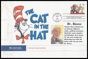 3835 / 37c Theodor Seuss Giesel : Dr. Seuss 2004 Cacheted USPS First Day Ceremony Program