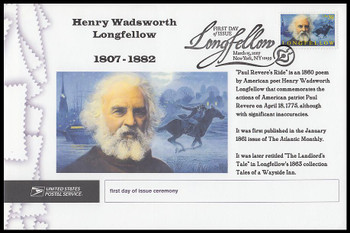 4124 / 39c Henry Wadsworth Longfellow : Poet 2007 Cacheted USPS First Day Ceremony Program