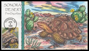 3293b / 33c Desert Tortoise : Nature of America Series 1999 Collins Hand-Painted FDC