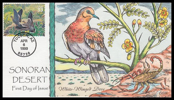3293c / 33c White-Winged Dove : Nature of America Series 1999 Collins Hand-Painted FDC