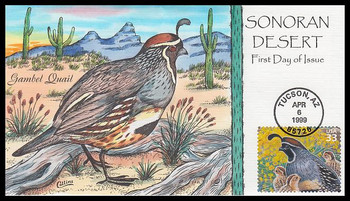 3293d / 33c Gambel Quail : Nature of America Series 1999 Collins Hand-Painted FDC