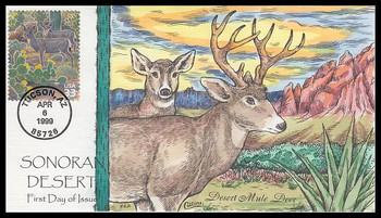 3293f / 33c Desert Mule Deer : Nature of America Series 1999 Collins Hand-Painted FDC