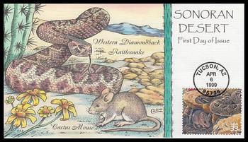 3293i / 33c Western Diamondback Rattlesnake : Nature of America Series 1999 Collins Hand-Painted FDC