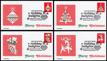 5526 - 5529 / 55c Holiday Delights Set of 4 FDCO Exclusive 2020 FDCs