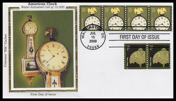3763 / 10c American Clock Coil Strip of 4 Colorano Silk 2008 FDC