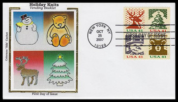 4214a / 41c Holiday Knits : Holiday Celebration Series Vending Booklet Se-Tenant Block of 4 Colorano Silk 2007 FDC