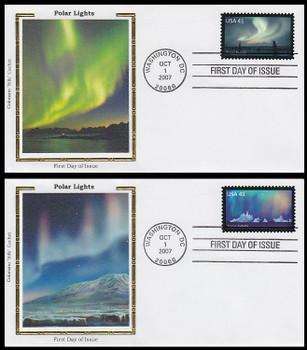 4203 - 4204 / 41c Polar Lights Set of 2 Colorano Silk 2007 FDCs
