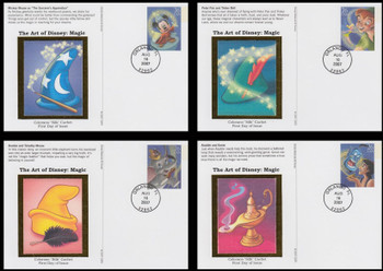 UX529 - UX532 / 26c Magic : Art of Disney Series Set of 4 Colorano Silk 2007 Postal Card FDCs